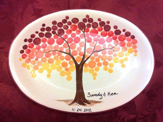Signature platter makes unique wedding guest books for Cute pottery designs