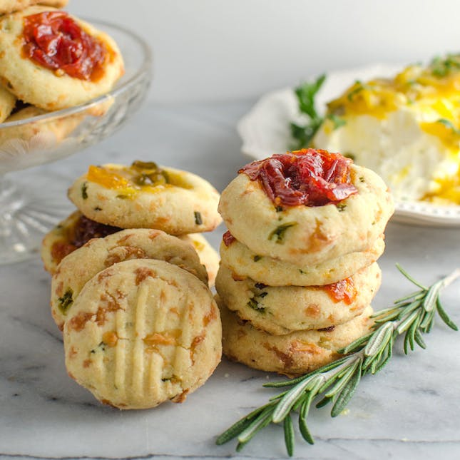 Cheesy Thumbprint Cookies with Bourbon Tomato Jam from