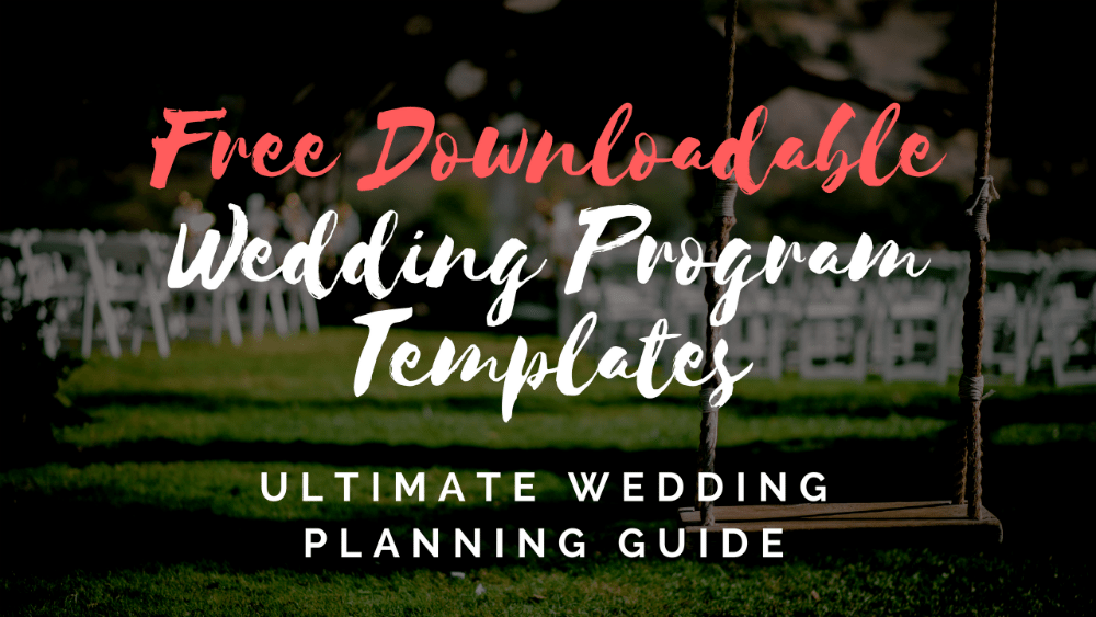 free downloadable wedding programs