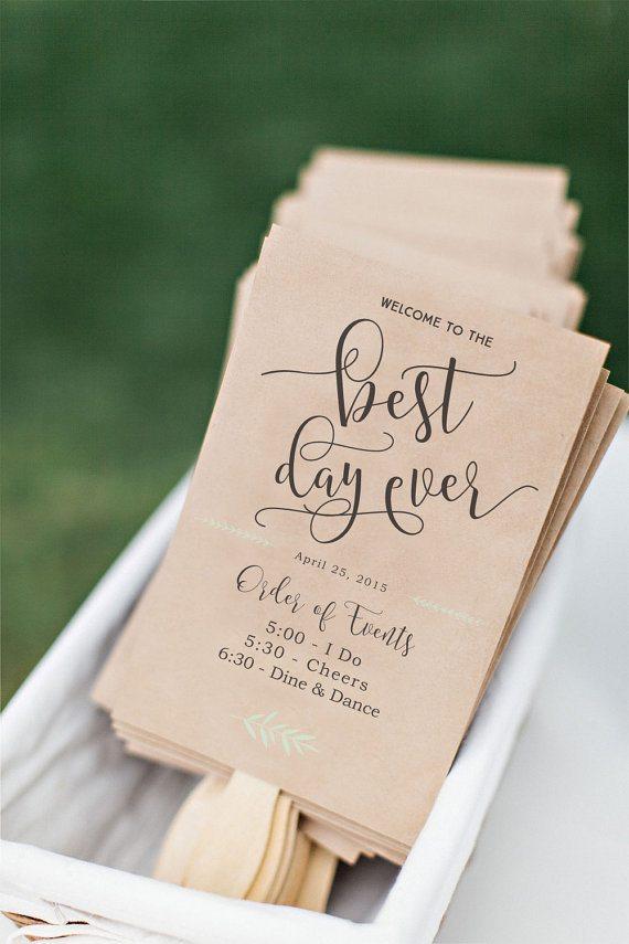 Printable Wedding Program Fan