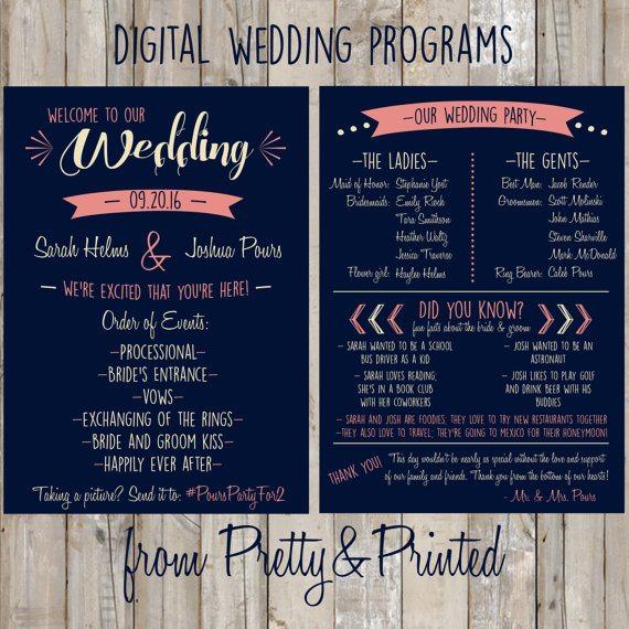 Handmade Digital Wedding Program Customized