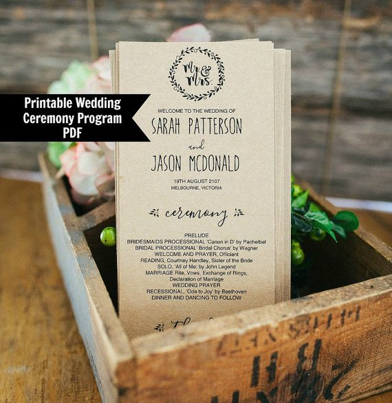 Printable Wedding ProgramTemplate