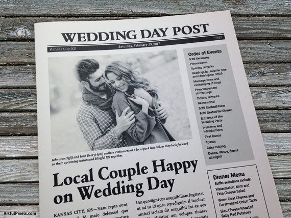 Free Wedding Program Templates Wedding Program Ideas - Wedding newspaper program template