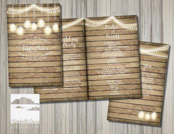 Printable wedding program in rustic wood, mason jars and lights