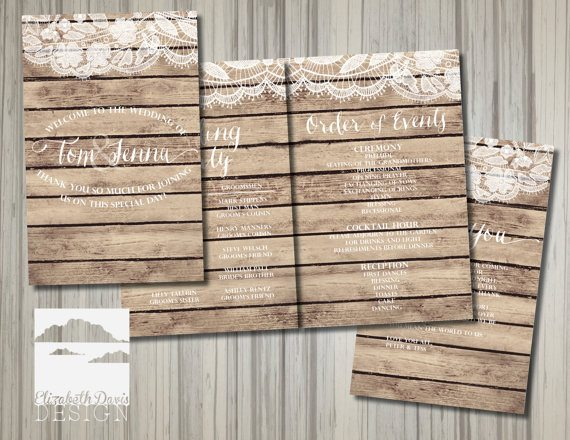 Printable Wedding Programs In Rustic Wood And Lace