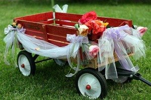Little Red Wagon Decorated for a Wedding
