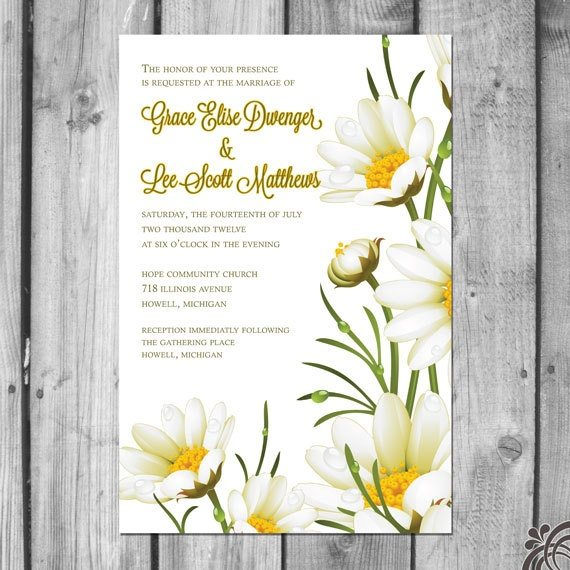 daisy wedding invitations