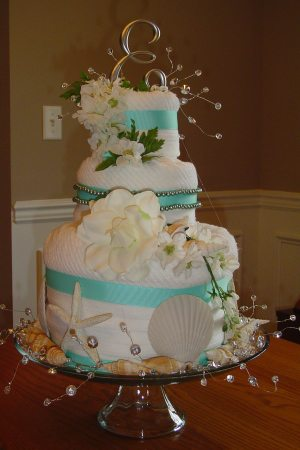 Beach Wedding Towel Cake