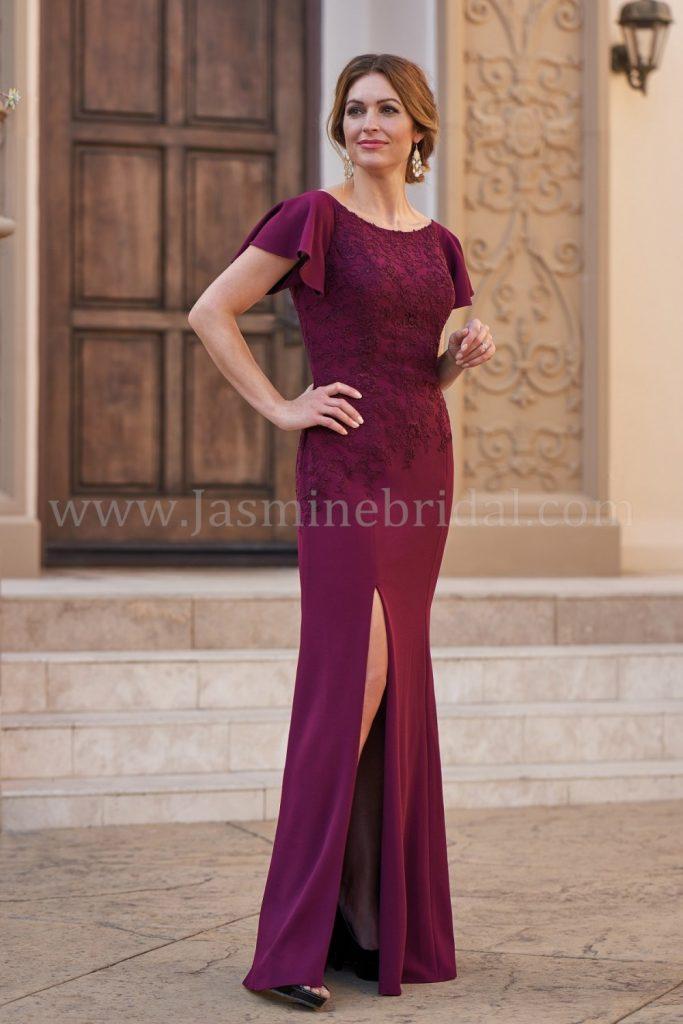 Portrait Neckline Stretch Crepe & Lace with Stretch Lining MOB Dress