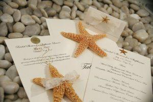 starfish wedding favor and beach themed wedding table card