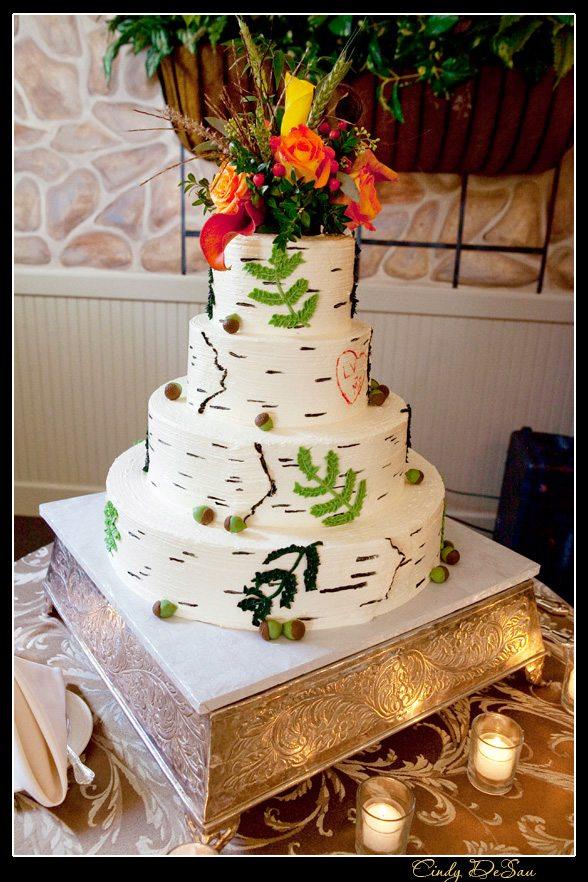 White Birch Wedding Cake Photo