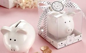 """Li'l Saver Favor"" Ceramic Mini-Piggy Bank in Gift Box with Polka-Dot Bow"