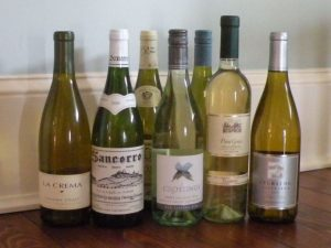 White wines including Chardonnay, Sauvignon Blanc, and Pinot Grigio