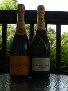 Non-vintage Champagnes from Veuve Clicquot and Moet & Chandon