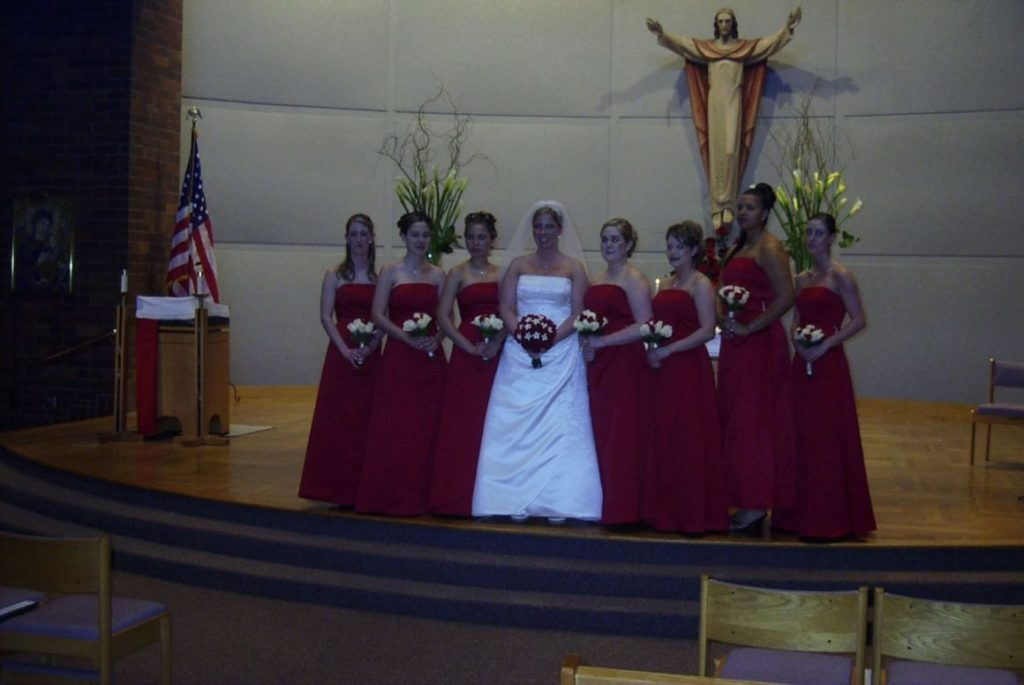 Red and white flowers were used for these bouquets