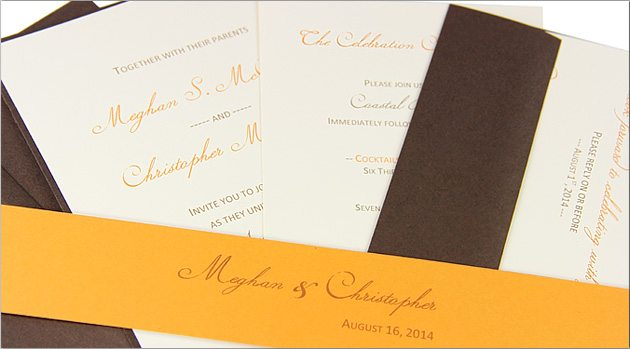 DIY orange and brown invitation suite