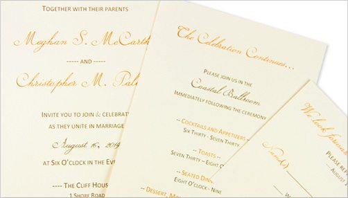 Printed invitation, reception, and response cards