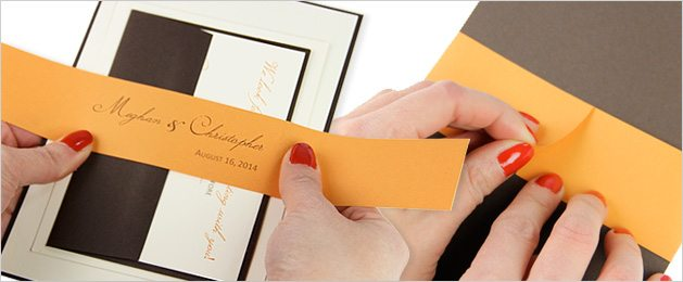 wrap paper band around invitation and secure in the back