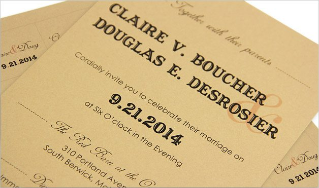 printed invitation card with western typography