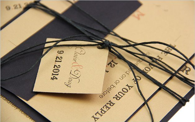 Wedding invitation suite with personalized tag