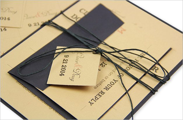 tan and black rustic invitation with twine and tag
