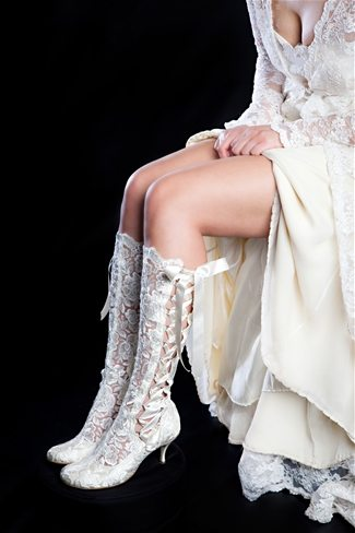 Vintage Lace Bridal Boots Rounded Toe Knee High