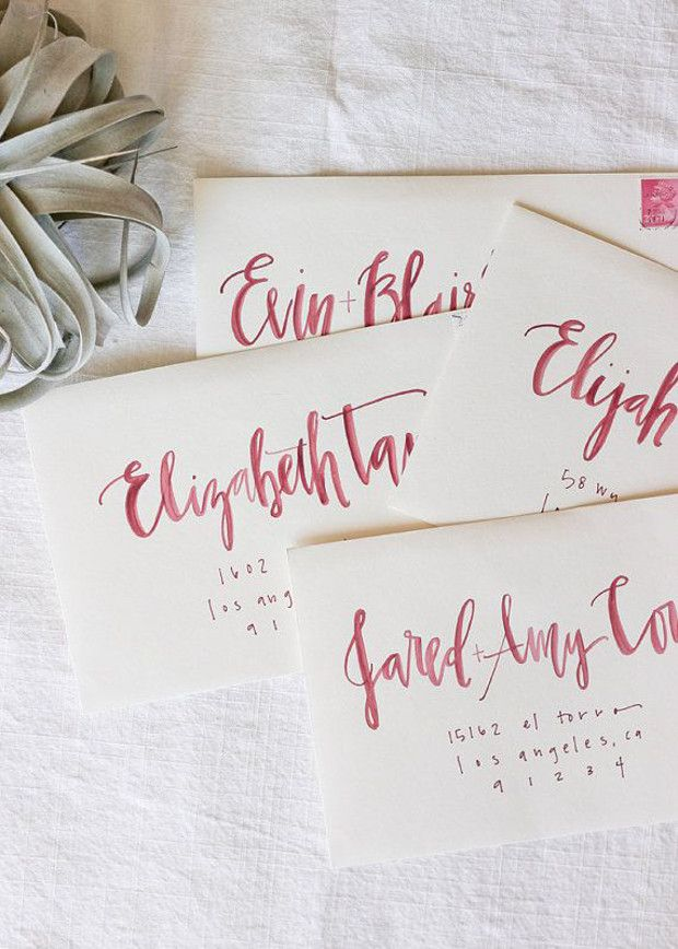 8d434ace6ce1 pink calligraphy bridal shower addressing