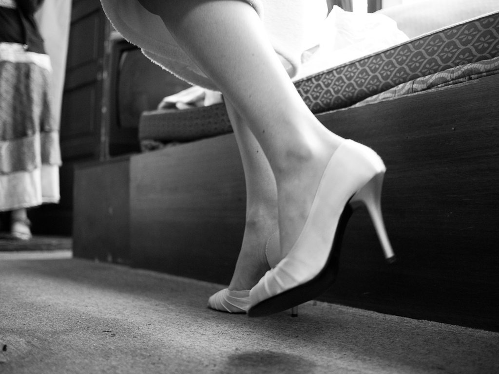 Bridal shoes in b/w