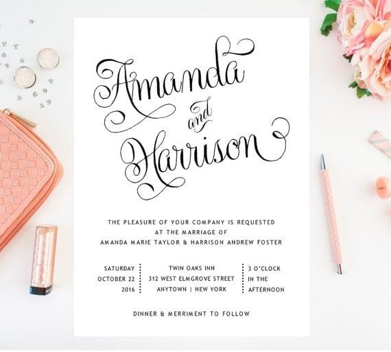 Etsy Wedding Invitation - Custom Indie Designs