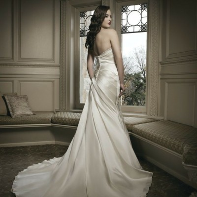 Soft strapless satin gown