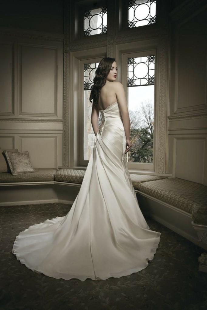 Soft strapless satin gown