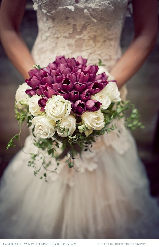 Purple and white tulip bridal bouquet