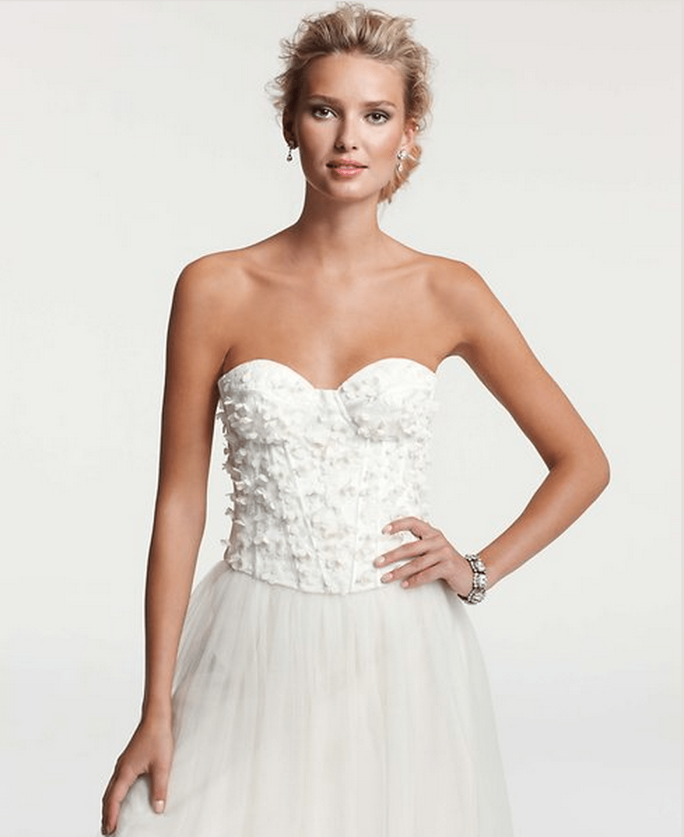 Ann taylors stunning 2014 wedding collection topweddingsites ann taylor bridal chantilly lace bustier junglespirit Images