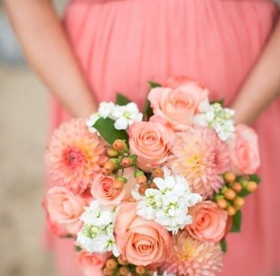 Coral Bouquets Wedding