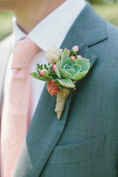 Burlap Wrapped Boutonnieres