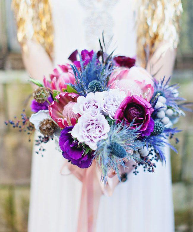 Royal Blue Blooms: Bouquet Inspiration | | TopWeddingSites.com