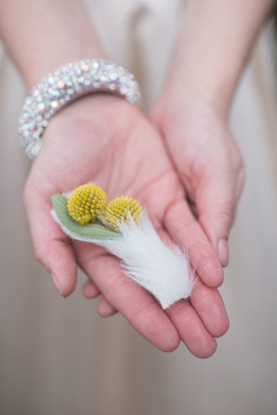 Feather Wrapped Boutonnieres