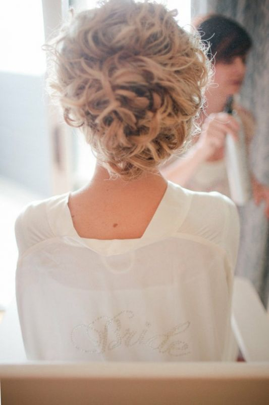 curly hair bride updo