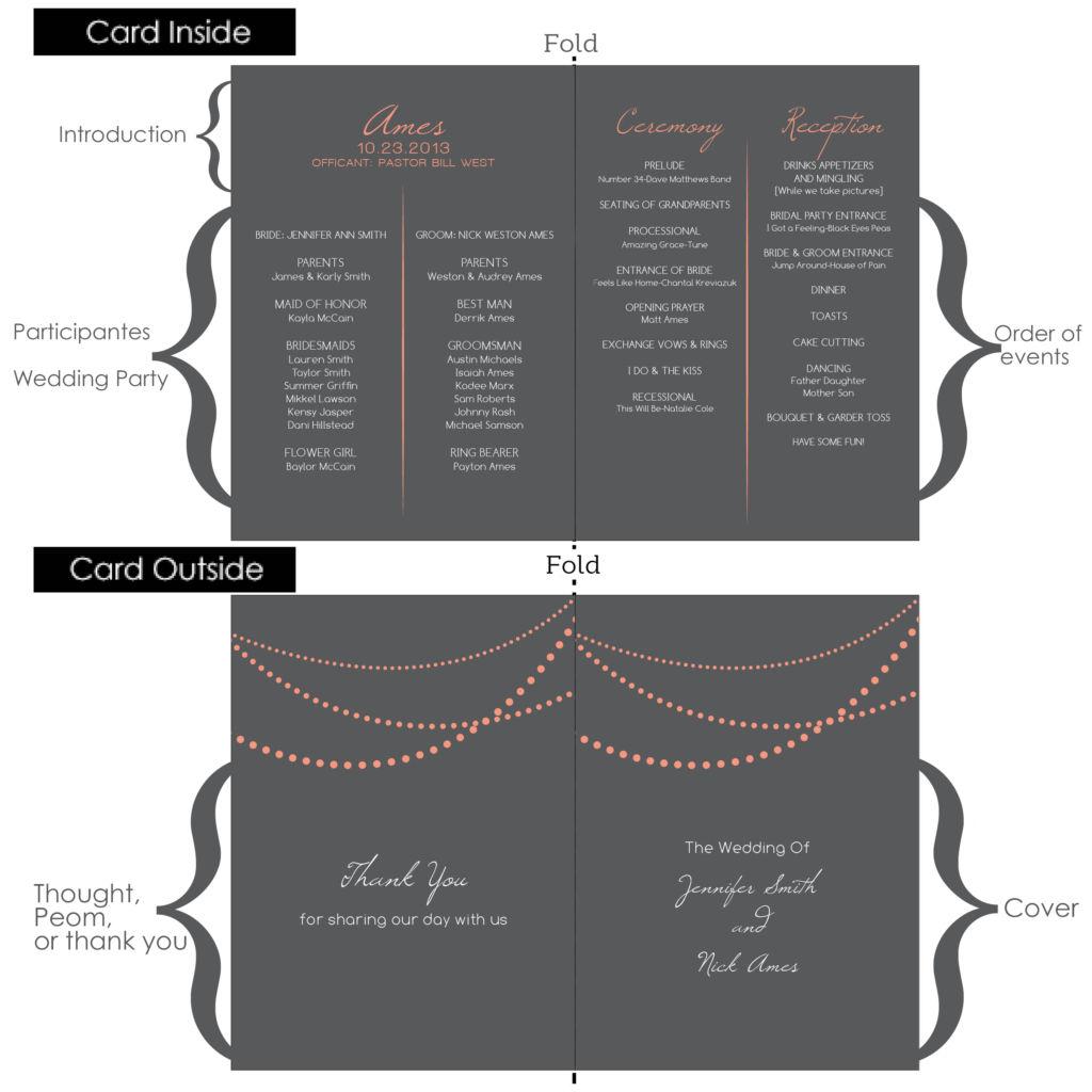 Captivating Wedding Program Layout. Optional Inclusions