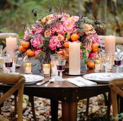 Sunset Orange and Yellow Wedding Reception Decor