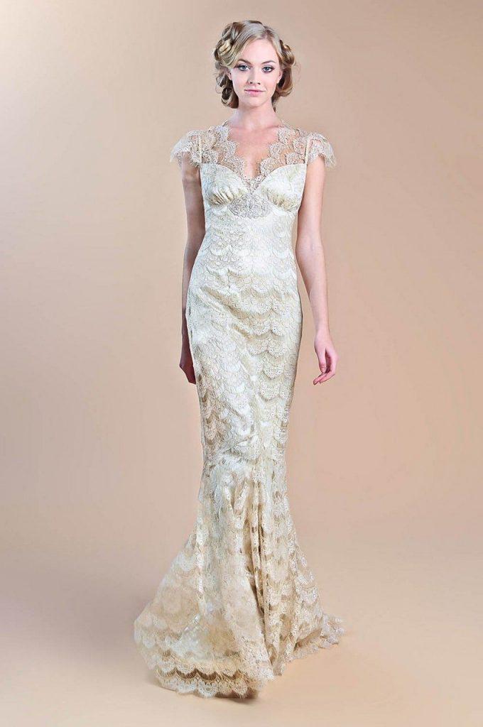Gold Lace Fall Wedding Dress