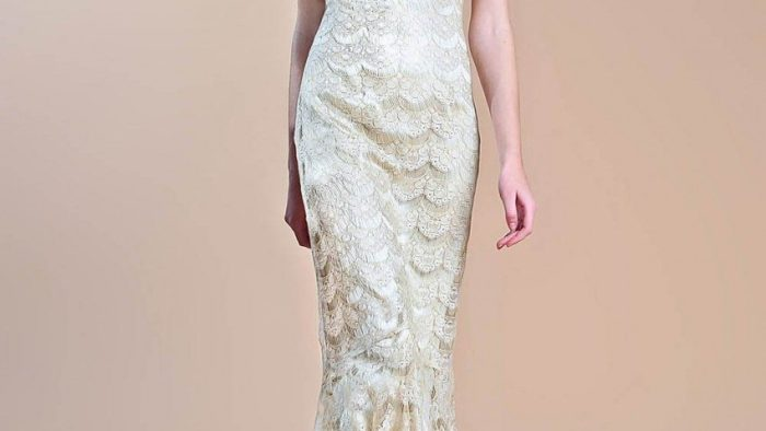 Gold Lace Fall Wedding Dress