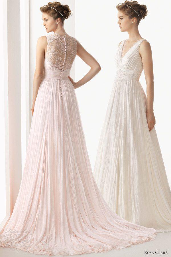 Crinkle Chiffon Fall Wedding Dress