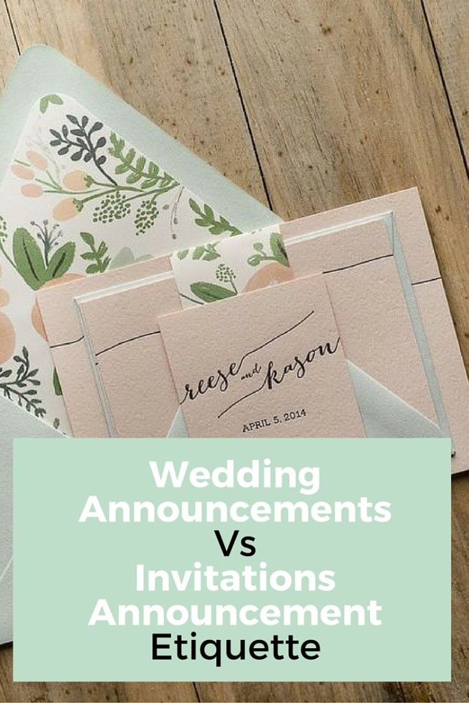 wedding announcement vs invitations