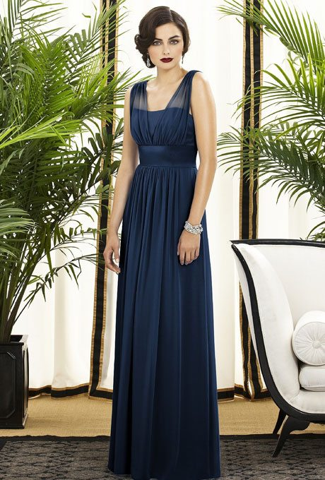 Beautiful Navy Blue Full Length Bridesmaids Gowns