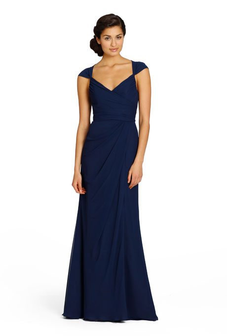 Beautiful, Navy Blue Full-Length Bridesmaids Gowns ...