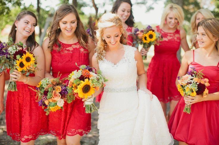 Sunflower Bridal Bouquet. What Color Bridesmaid Dress?