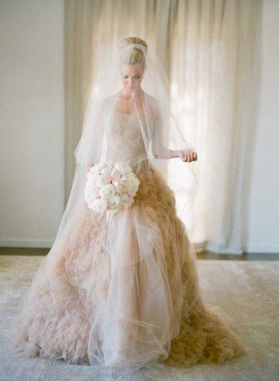 Blush Wedding Gown, Real Bride