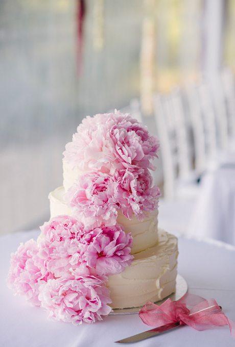 Peonies On Wedding Cake