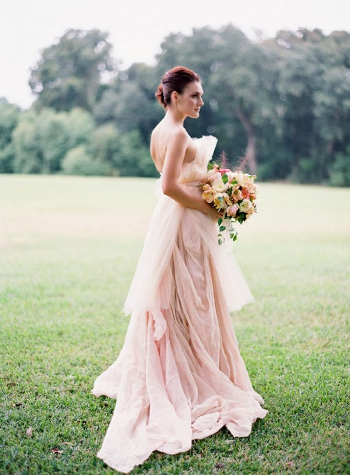Real life beautiful brides in blush wedding gowns for Best website for wedding dresses